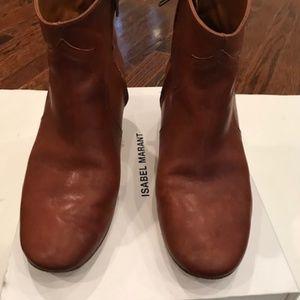 ISABEL MARANT cognac short leather boots EU 40